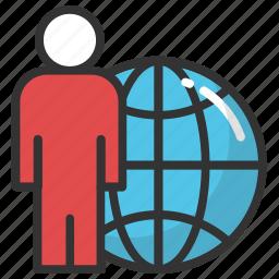 global businessman, global employee, international investor, internet user, online business icon