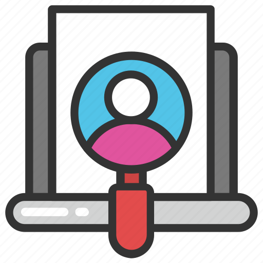 customer tracking, user inspection, user monitoring, user observation, user search icon