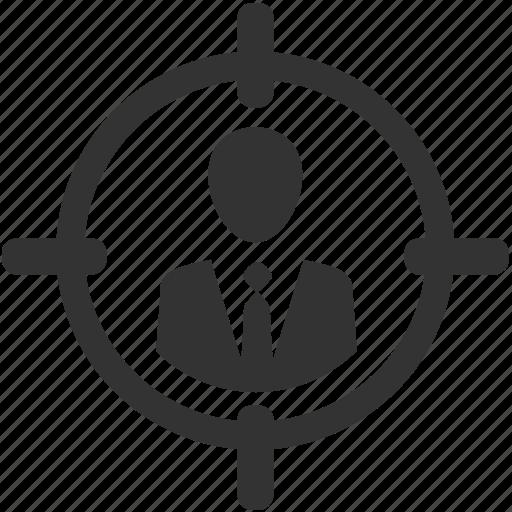 businessman, employee, human resources, hunting, personal, target, targeting icon