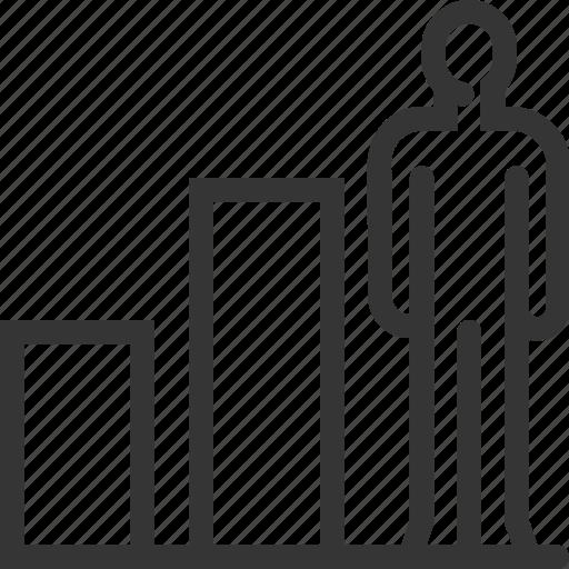 achievement, challenge, development, employee, graph, increase, worker icon