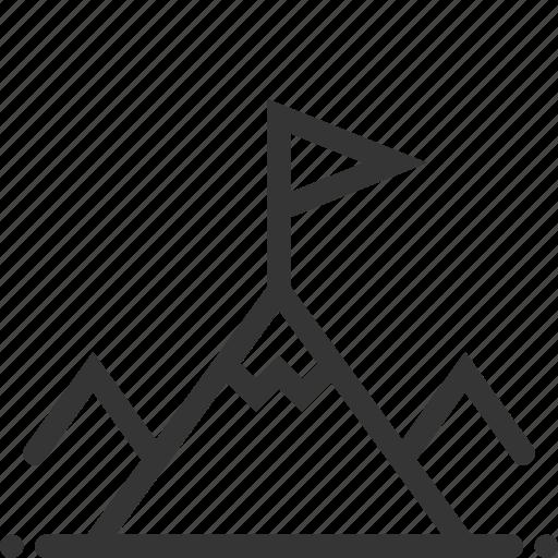 climb, company, flag, mountain, strategy, success, target icon