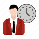 business, businessman, time, timer icon