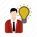 bulb, business, businessman, idea icon