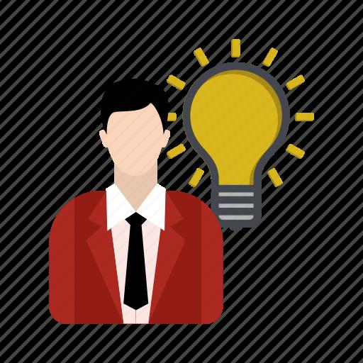 bulb, business, businessman, idea icon