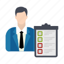 business, businessman, checklist icon