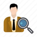 business, businessman, hire, job, search icon