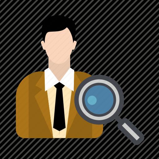 business, businessman, hire, job, search icon