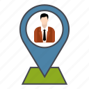 business, businessman, location, pin icon