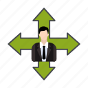 arrows, business, businessman, manager icon