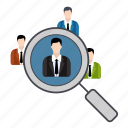 discussion, group, growth, magnify glass, search icon