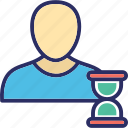 hourglass, man, person, punctual, waiting icon