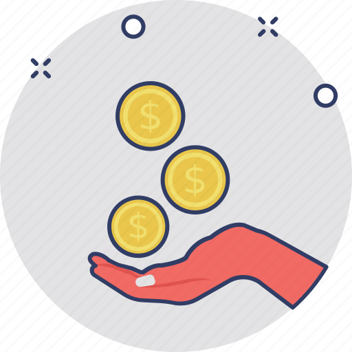 business, finance, hand coin, money exchange, savings icon