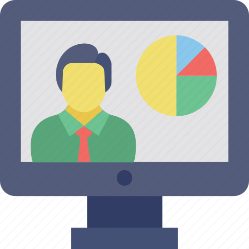 analysis presentation, business presentation, online business training, online presentation, online statistics icon