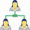 connected people, organization structure, team, team hierarchy, teamwork icon