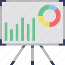 analytics, diagram board, graph board, graph presentation, infographic icon