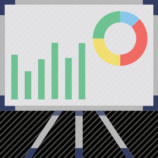 analytics, diagram board, graph board, graph presentation, infographic icon
