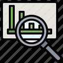 analysis, analytics, chart, data, google, line, loupe icon