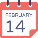 14 february, 14 february calendar, calendar, event, valentine day icon