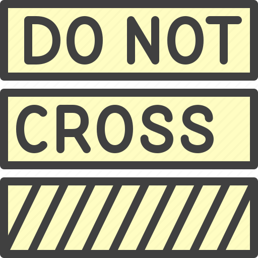 Cop, crime, do not cross, police tape icon