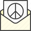 beliefs, letter, mail, mailing, peace icon