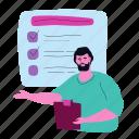 questionnaire, checklist, survey, coach, teacher, test