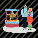 street, shop, seller, couple, pretzel