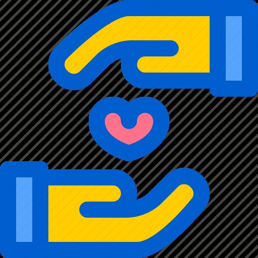charity, hand, heart, help, love icon