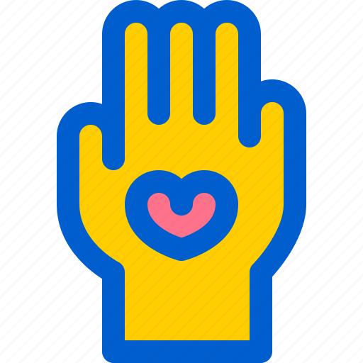 hand, heart, love, palm, voluntary icon