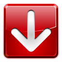 arrow, download, left, red