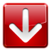 arrow, download, left, red icon