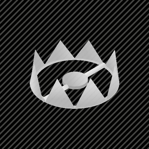 bear, danger, isometric, metal, risk, sharp, trap icon