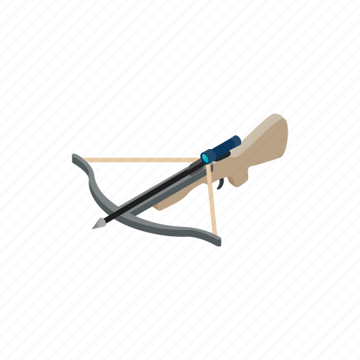 ancient, antique, arrow, bow, crossbow, isometric, weapon icon