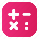 calculator, gradient, icons, pink icon