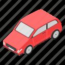 car, cartoon, family, isometric, red, retro, silhouette