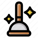 clean, cleaning, cleanup, hygiene, plunger, toilet, toilet plunger icon
