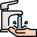 clean, cleaning, faucet, hand, hygiene, washing icon