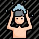 clean, cleaning, hair, hygiene, man, wash, washing