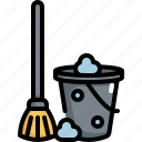 busket, clean, cleaning, hygiene, mop, washing icon