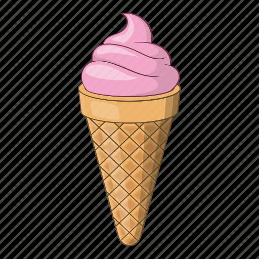 ball, bowl, cartoon, cone, cream, design, ice icon