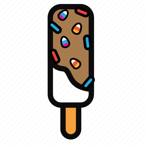 chocolate, cream, ice, stick, strawberry icon