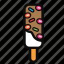 chocolate, cream, ice, stick, strawberry icon