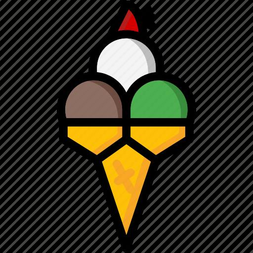 colour, cream, lollies, scoop, triple, ultra icon