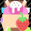 dessert, ice cream, icecream, strawberry
