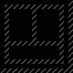 align, arrange, bottm, divide, dock, frame, half, in, layout, order, page, pane, panel, split, tile, two, vertical, view, window, workspace icon