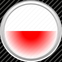 city, flag, polandia, red icon