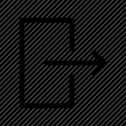 arrow, exit, logout, out icon