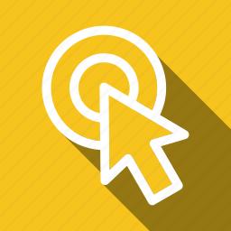 arrow, clicking, cursor, long shadow, mose icon