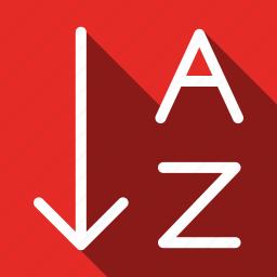 alphabet, arrange, long shadow, order icon