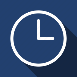 clock, long shadow, realtime, watch icon
