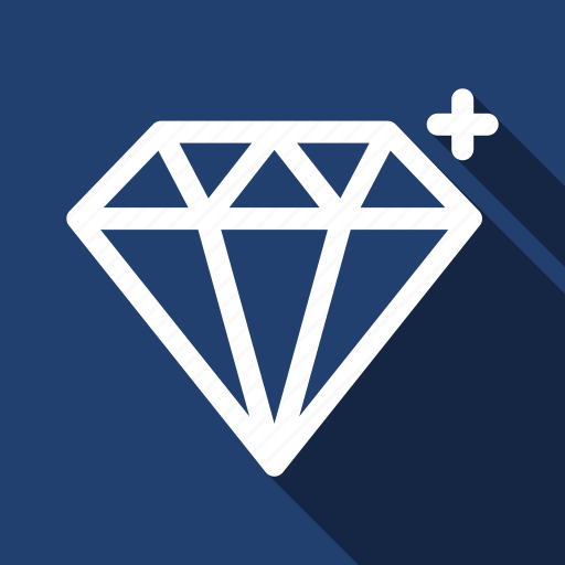 diamond, gem, gemstone, jewel, jewelry, long shadow, treasure icon